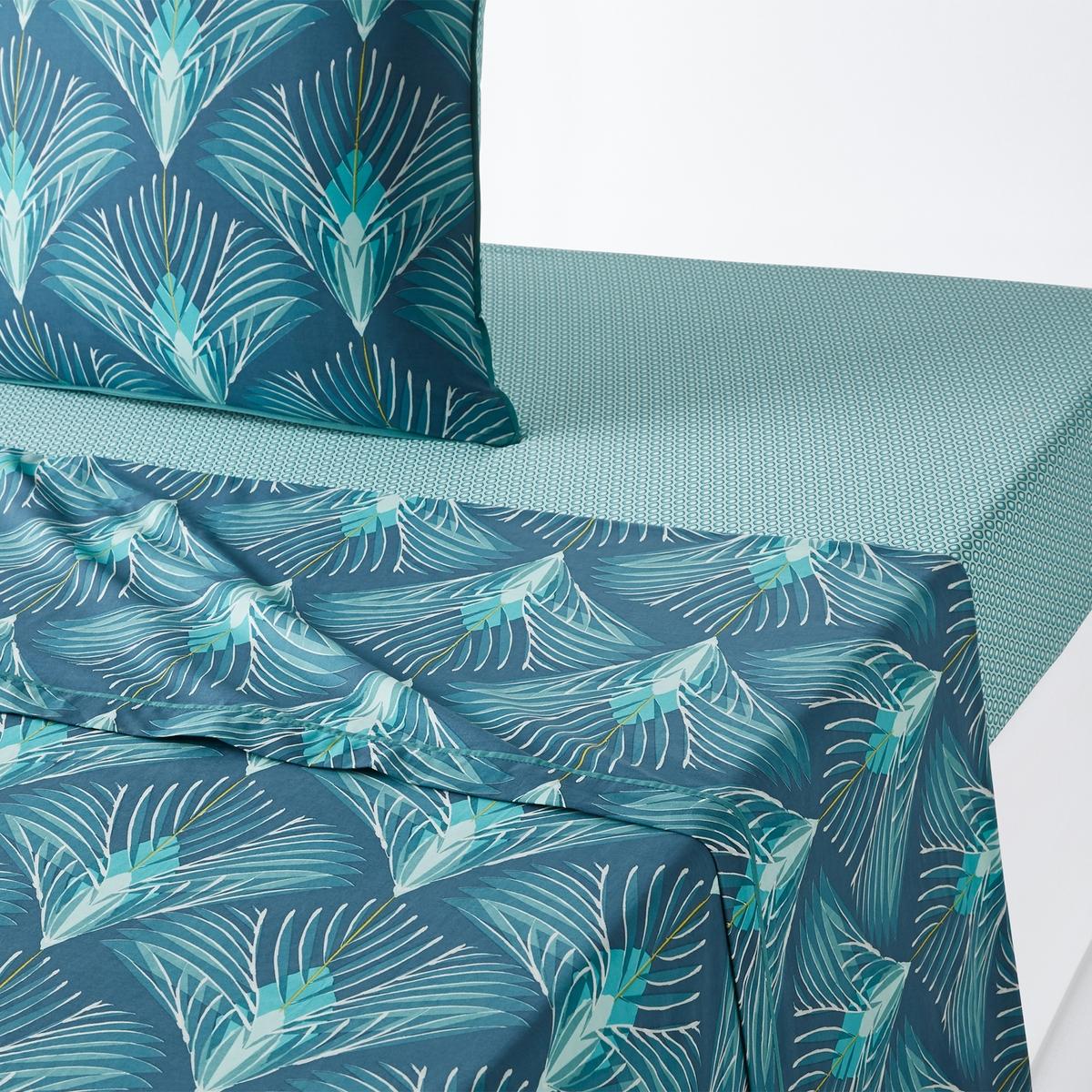где купить Простыня La Redoute Из хлопковой перкали PAMPELUNE 180 x 290 см синий дешево