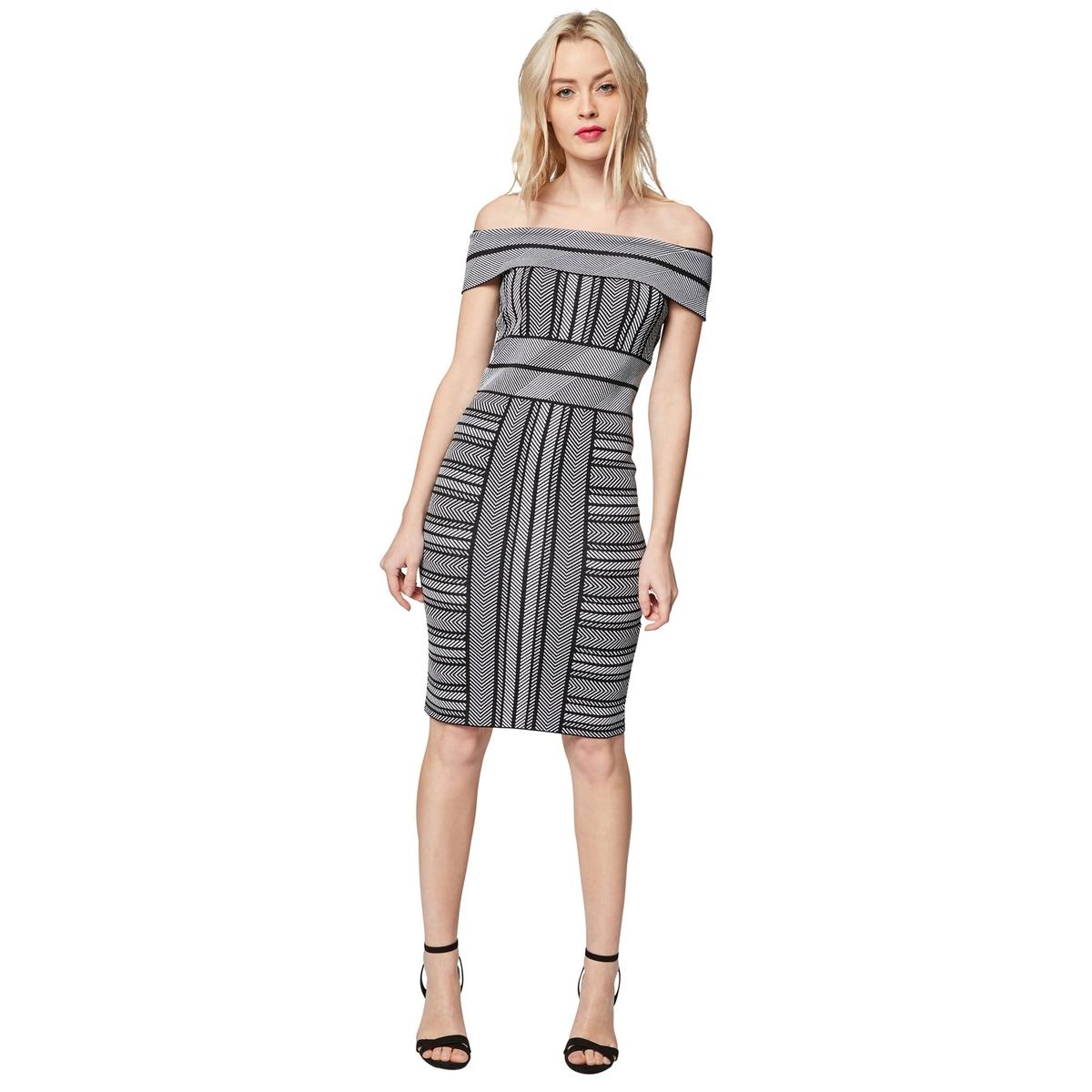 Платье La Redoute Облегающее с открытыми плечами из тонкого трикотажа XS черный платье la redoute облегающее с открытыми плечами из тонкого трикотажа xs черный