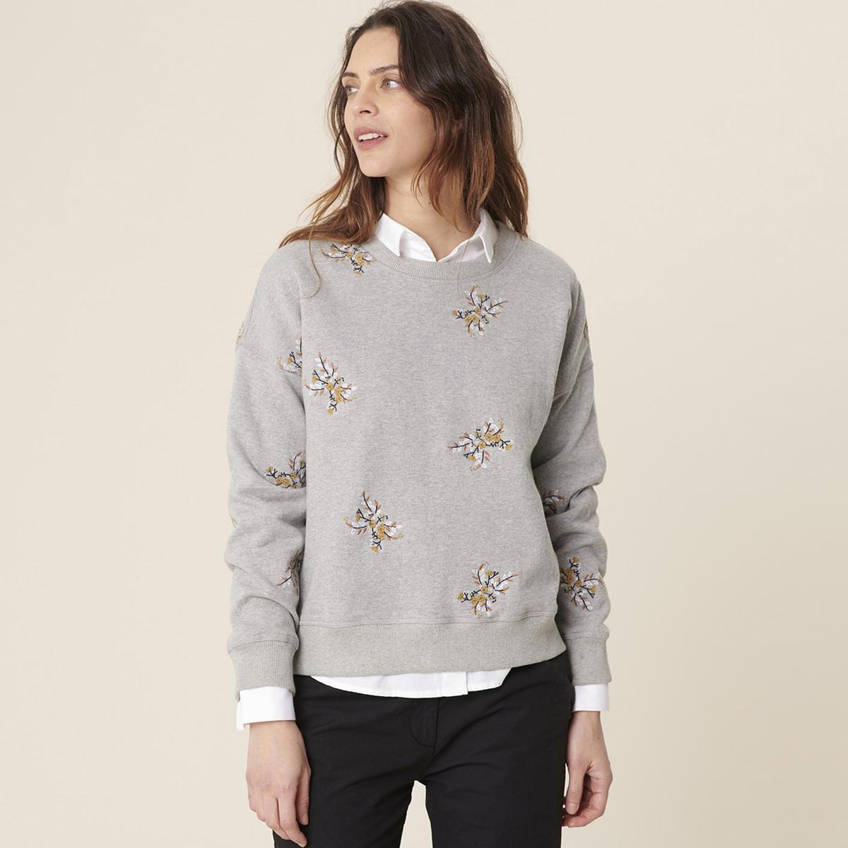 Свитшот La Redoute С вышивкой ORACIO 4(XL) серый свитшот la redoute с круглым вырезом и вышивкой s черный