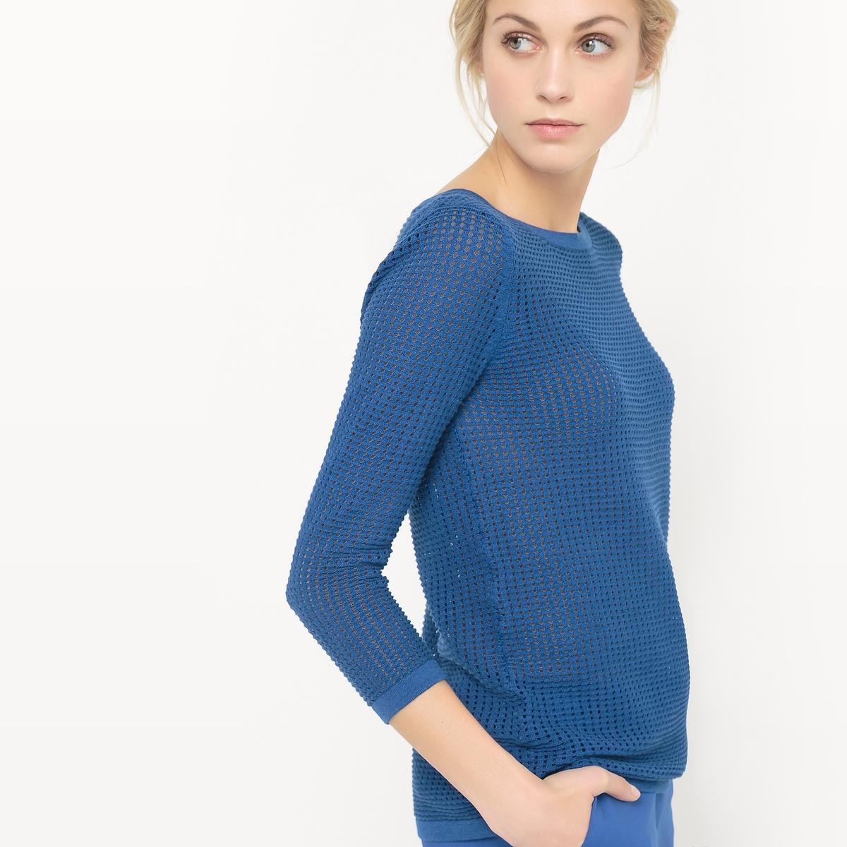 Пуловер ажурный с вырезом-лодочкой