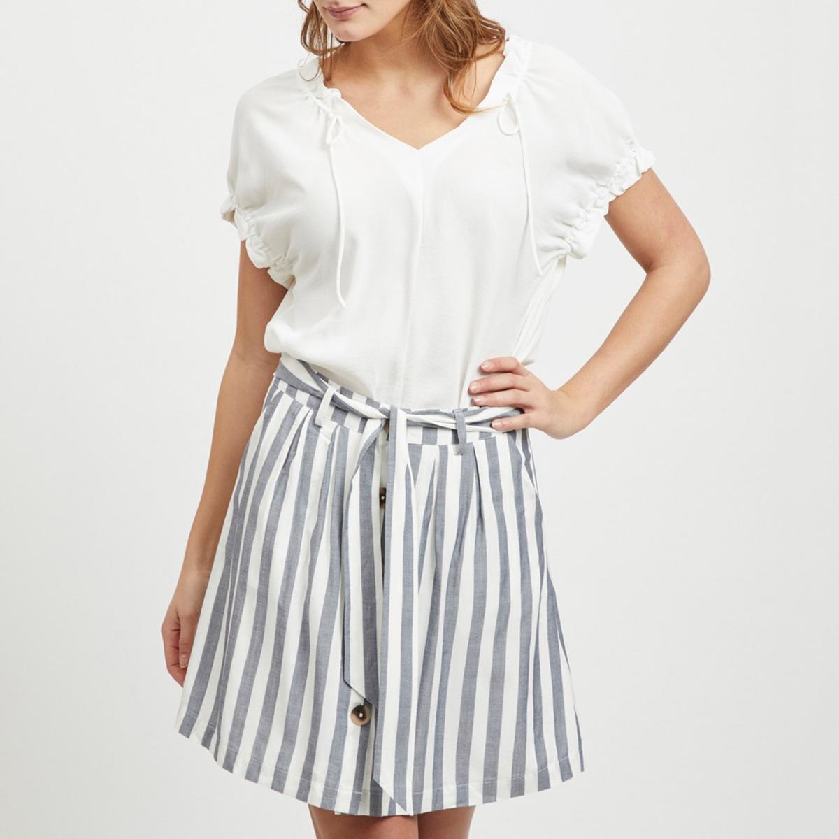 Блузка La Redoute С V-образным вырезом и короткими рукавами с воланами Viflonas XS бежевый недорого