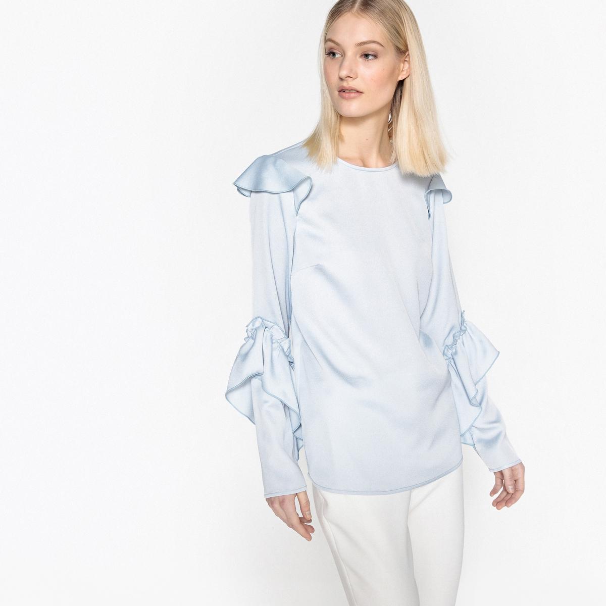 Блузка блестящая с длинными рукавами с воланами