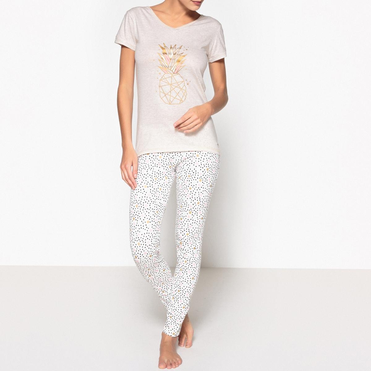 Пижама длинная из хлопка с рисунком, Ananas пижама с шортами с рисунком
