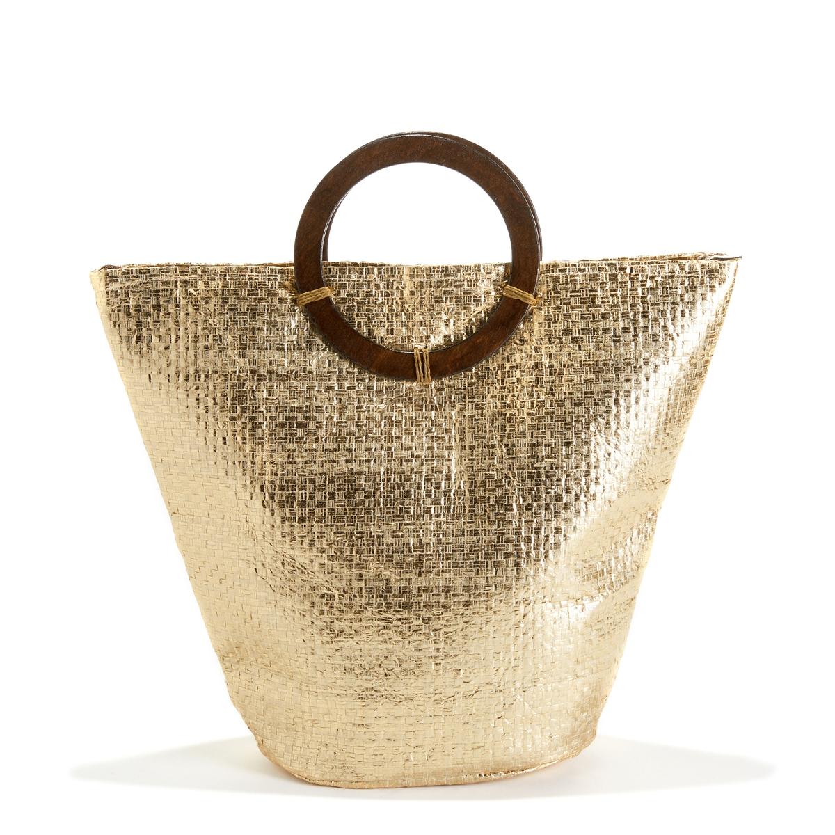 Корзина золотистого цветаОписание:Отличная сумка-корзина золотистого цвета с круглыми ручками сделает ваши походы по магазинам еще приятнее !Состав и описание :Материал верха  : солома Подкладка : 50% хлопка, 50% полиэстераРазмеры  : Ш42 x В38 x Г15 смЗастежка :  на молниюНосить : в руках<br><br>Цвет: золотистый