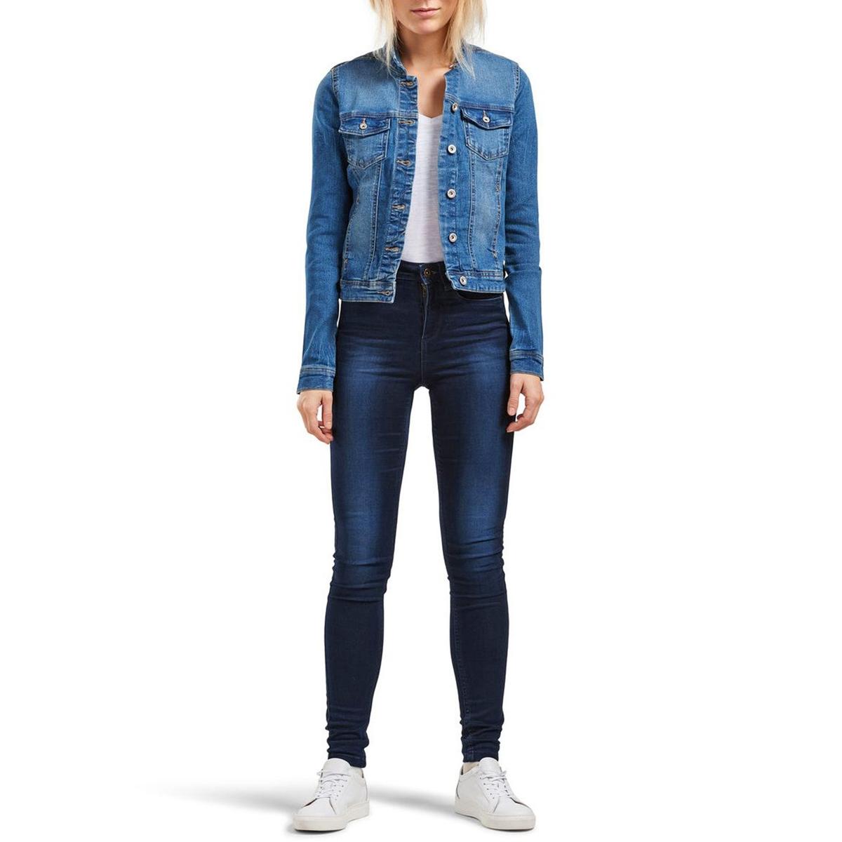 Жакет короткий джинсовый с длинными рукавамиДетали   •  Прямой покрой • Воротник-поло, рубашечный   Состав и уход •  75% хлопка, 1% эластана, 24% полиэстера    •  Следуйте советам по уходу, указанным на этикетке<br><br>Цвет: синий потертый