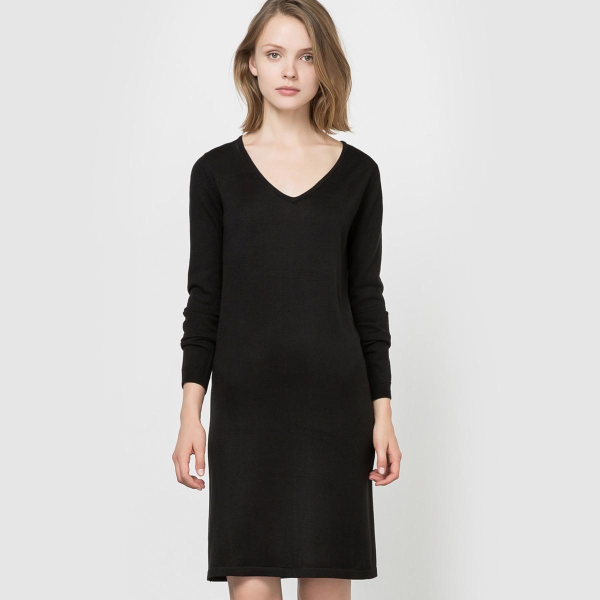 Платье-пуловерСостав и описание : Материал: 100% акрилаДлина: 90 см.Марка: R ?ditionУход :Машинная стирка при 30 °C    Гладить при умеренной температуре<br><br>Цвет: черный