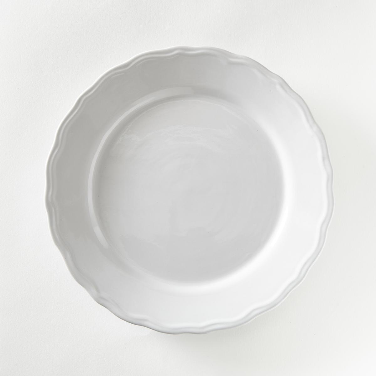 4 тарелки плоские с отделкой фестоном, Ajila4 тарелки плоские с отделкой фестонами . Завтрак, обед или ужин, La Redoute Int?rieurs Вас приглашает к столу .Характеристики 4 тарелок плоских с отделкой фестоном Ajila :- Из фаянса, зубчатая кромка.- Диаметр 26,5 см  .- Можно использовать в посудомоечных машинах и микроволновых печах.Десертные и глубокие тарелки,чашки, кружки и блюдца Ajila продаются на нашем сайте.<br><br>Цвет: белый,серо-коричневый