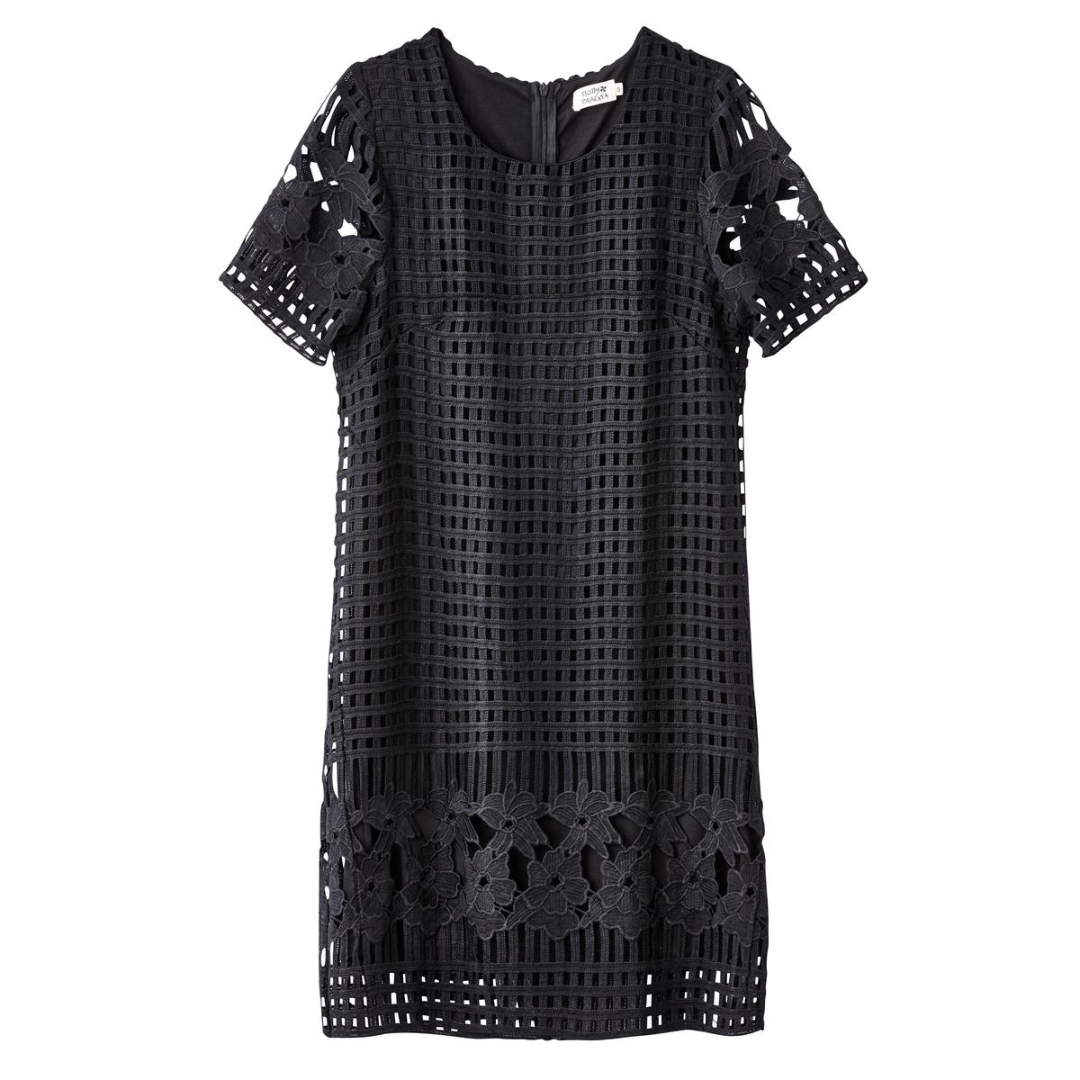 Платье прямое ажурноеМатериал : 100% полиэстер   Длина рукава : короткие рукава   Форма воротника : круглый вырез  Покрой платья : платье прямого покроя     Рисунок : однотонная модель Длина платья : короткое<br><br>Цвет: черный<br>Размер: XS.L.M