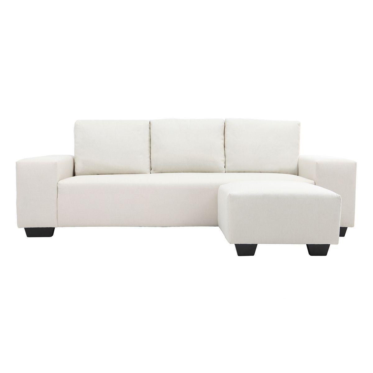 Canapé d'angle design en tissu naturel 3 places DEAUVILLE