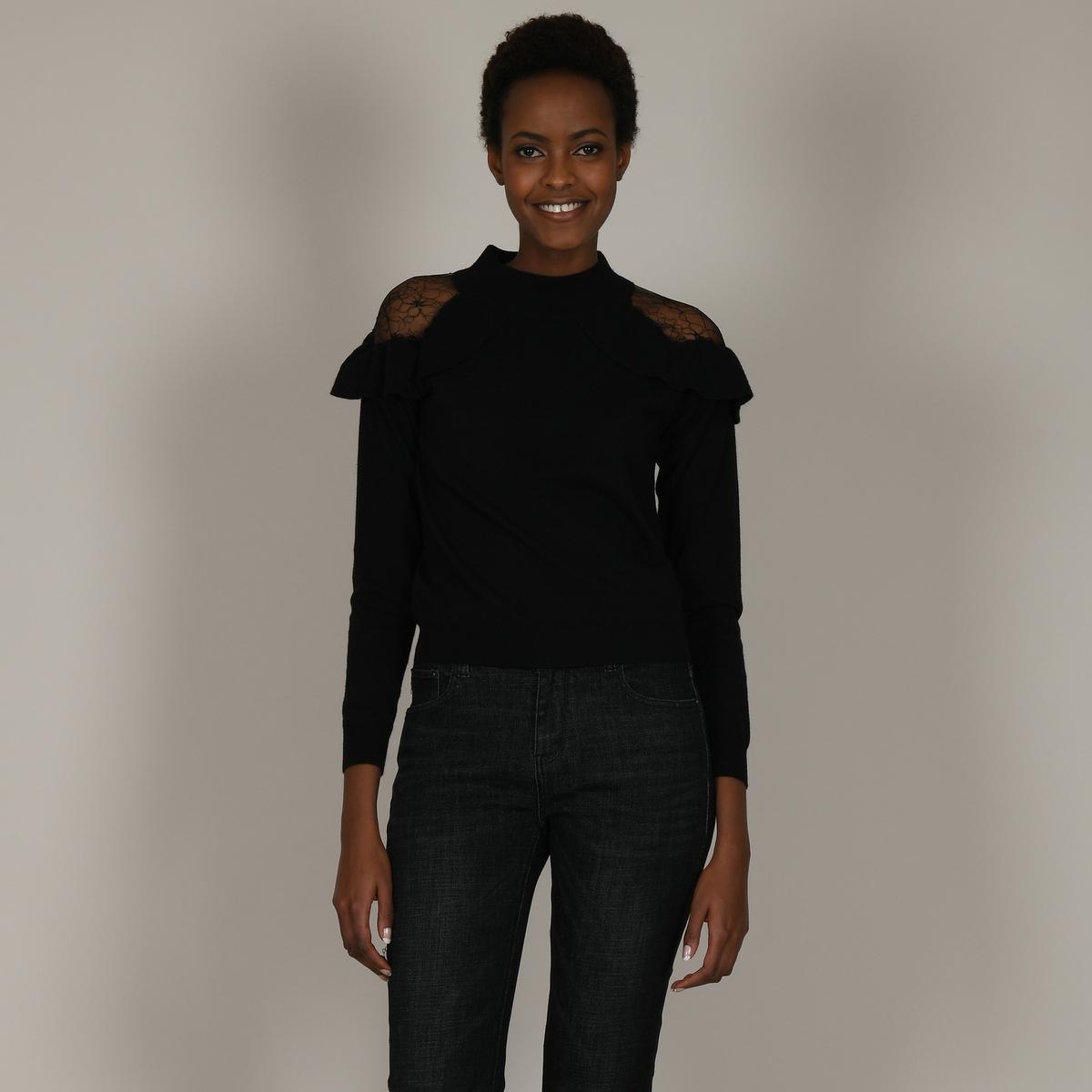 Пуловер La Redoute Из двух материалов с воротником-стойкой и воланом из кружева M черный