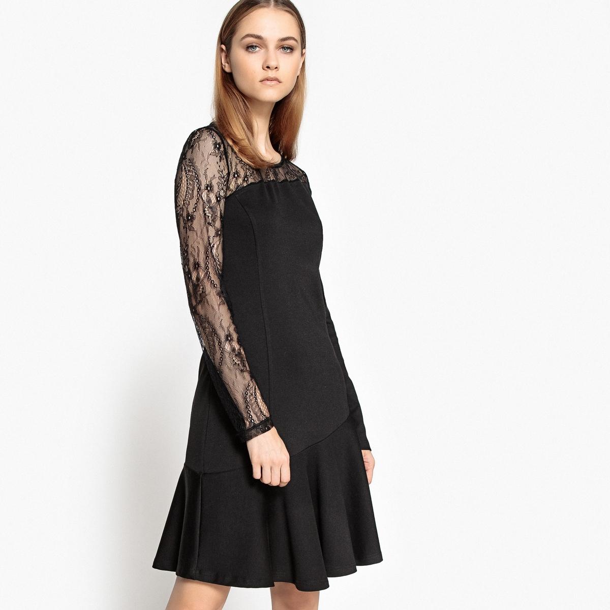 Платье с баской из кружева и вискозы meiller платье с баской
