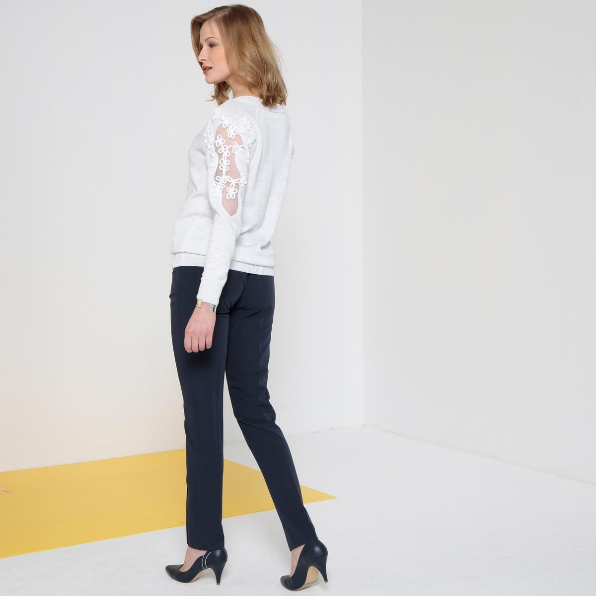 Imagen secundaria de producto de Jersey con cuello de pico, de punto fino brillante - Anne weyburn