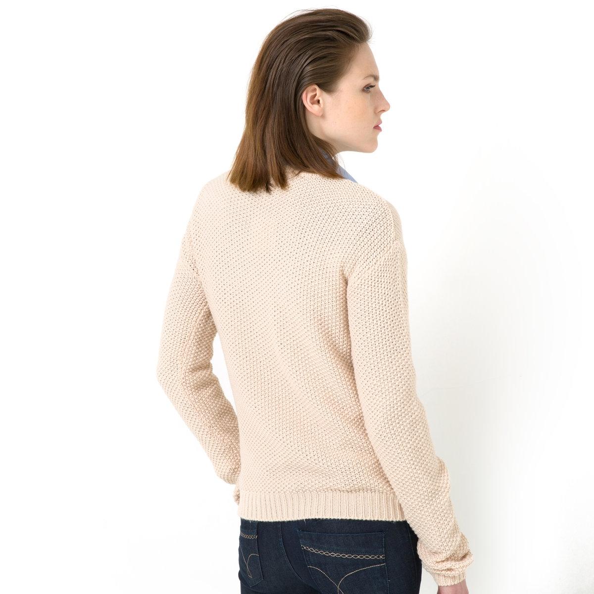 Пуловер с узором косы и бахромойПуловер из узорного трикотажа, 100% акрила. Узор косы и бахрома. Круглый вырез. Длинные рукава. Края связаны в рубчик. Длина ок. 57 см.<br><br>Цвет: экрю