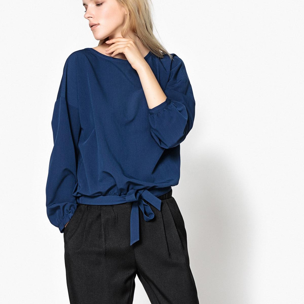 Блузка с напускными рукавами и завязкой снизу