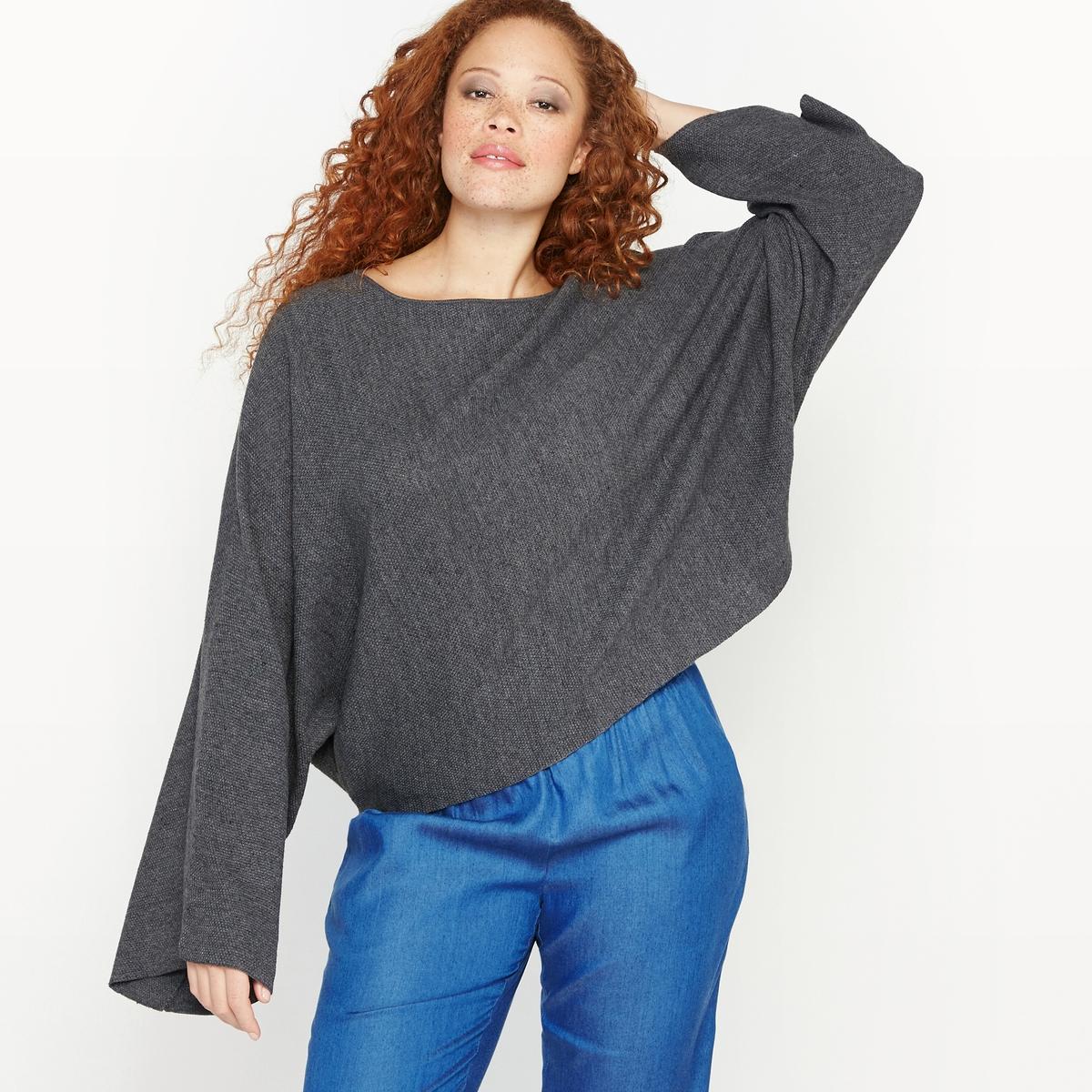 Пуловер укороченныйСостав и описание :Материал : 67% хлопка, 33% акрила.Длина : 59 см для размера 48.Марка : CASTALUNAУход : Машинная стирка при 40 °С.<br><br>Цвет: антрацит/меланж