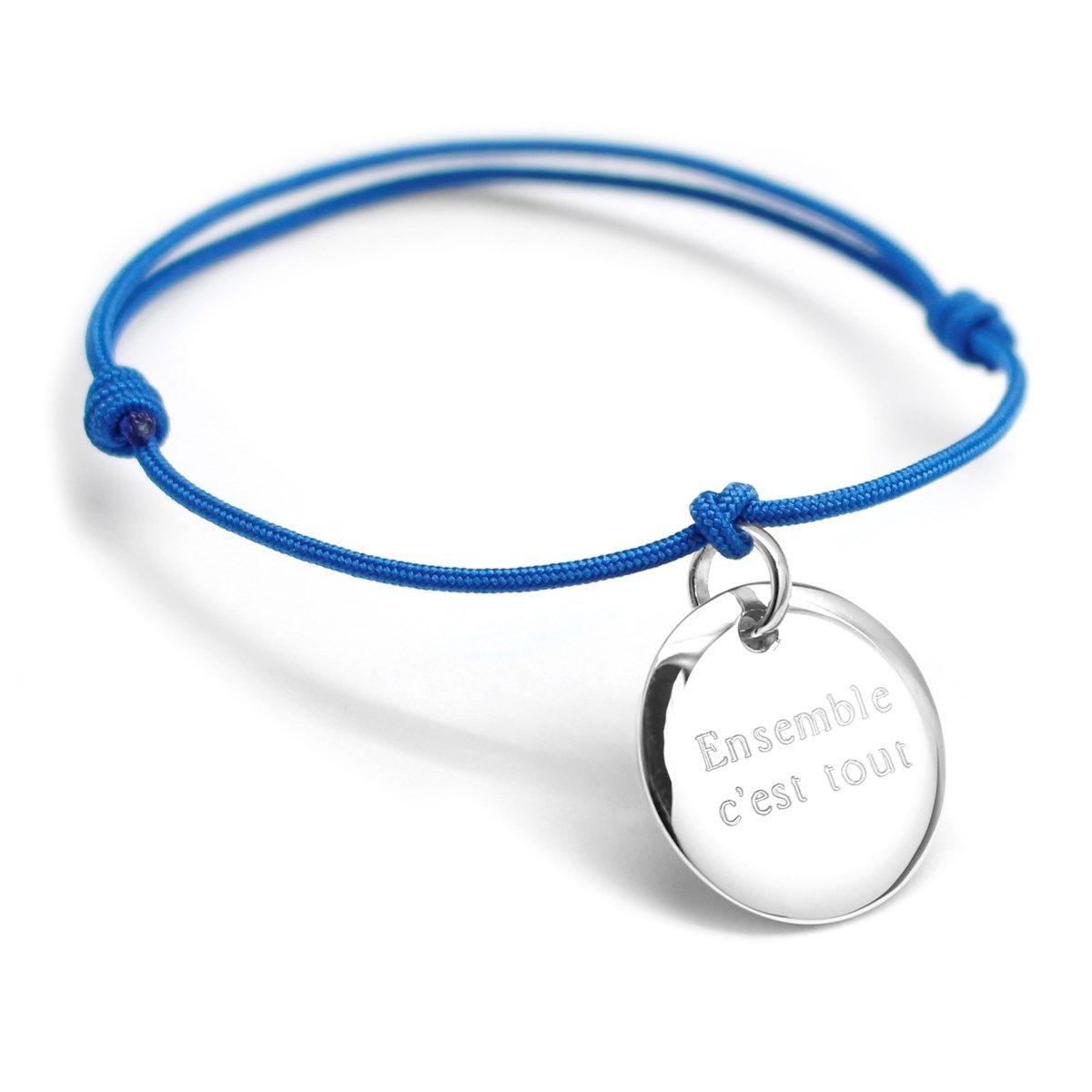 Bracelet cordon médaille argent 925 gravure ENSEMBLE C'EST TOUT
