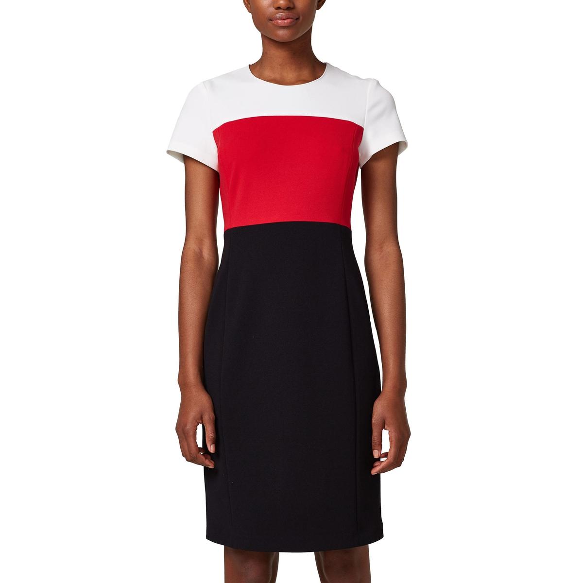 Vestido direito tricolor, mangas curtas