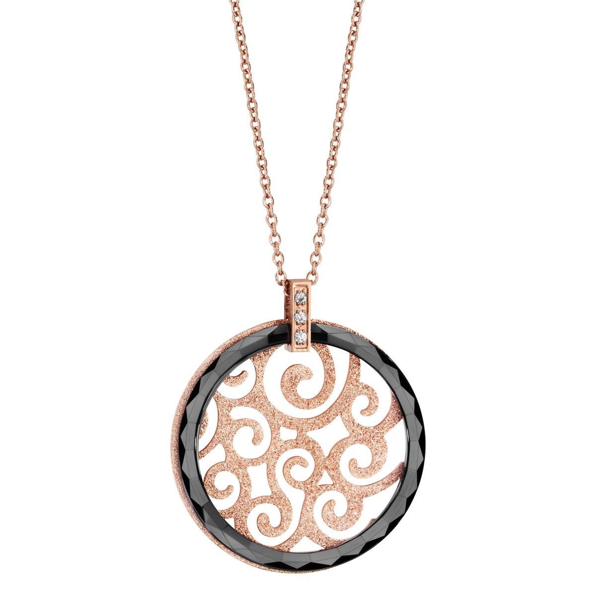 Collier Longueur Réglable: 41 à 46 cm Rose Pendentif Rond Ajouré Aspect Granit Disque Céramique Noire Acier