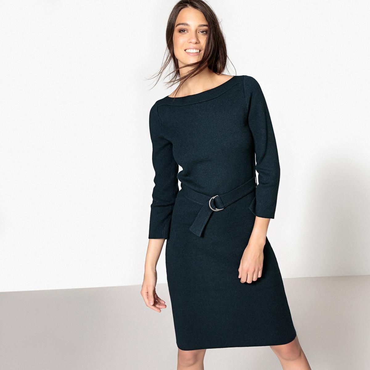 Платье трикотажное из вискозы с поясом