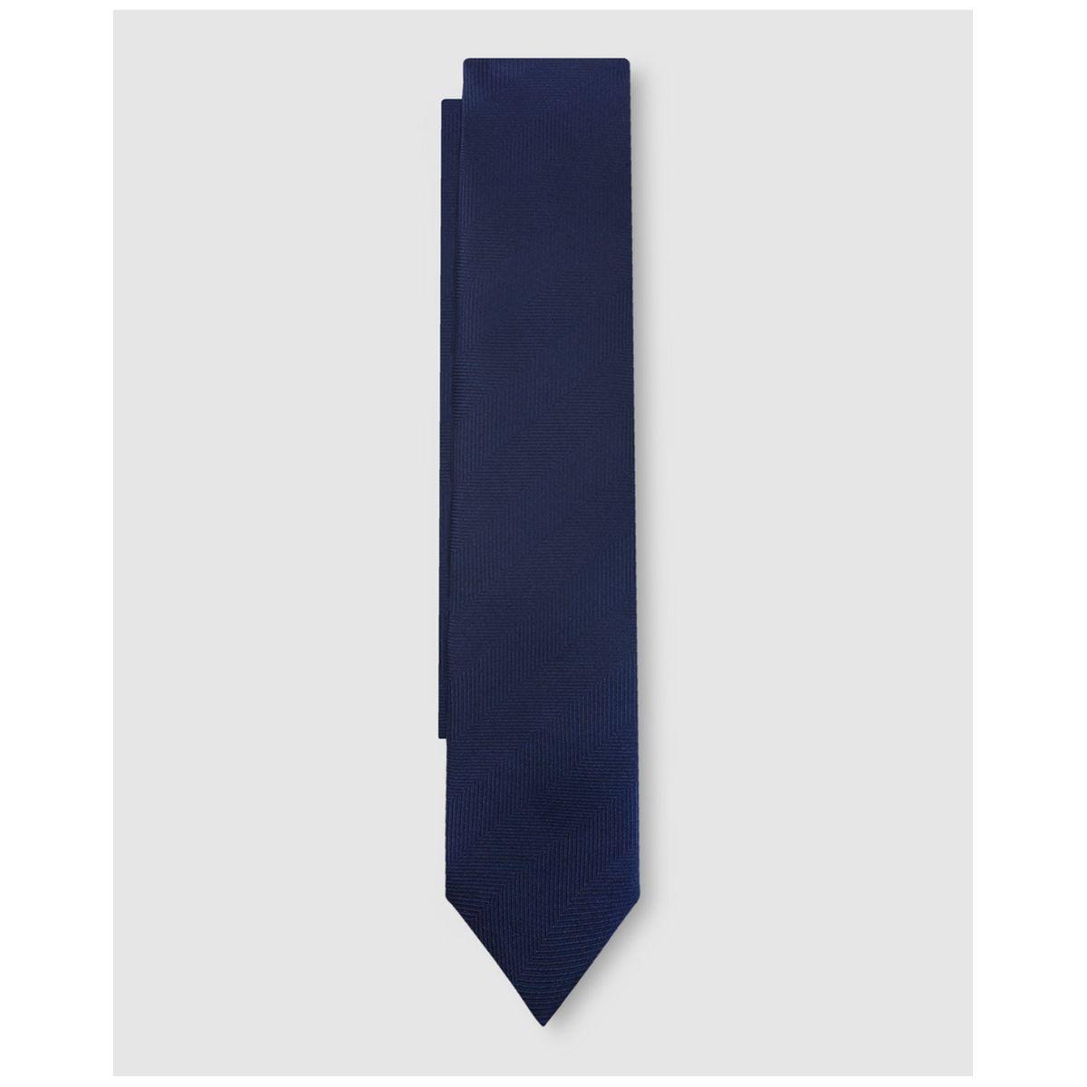 Cravate en soie unie marine