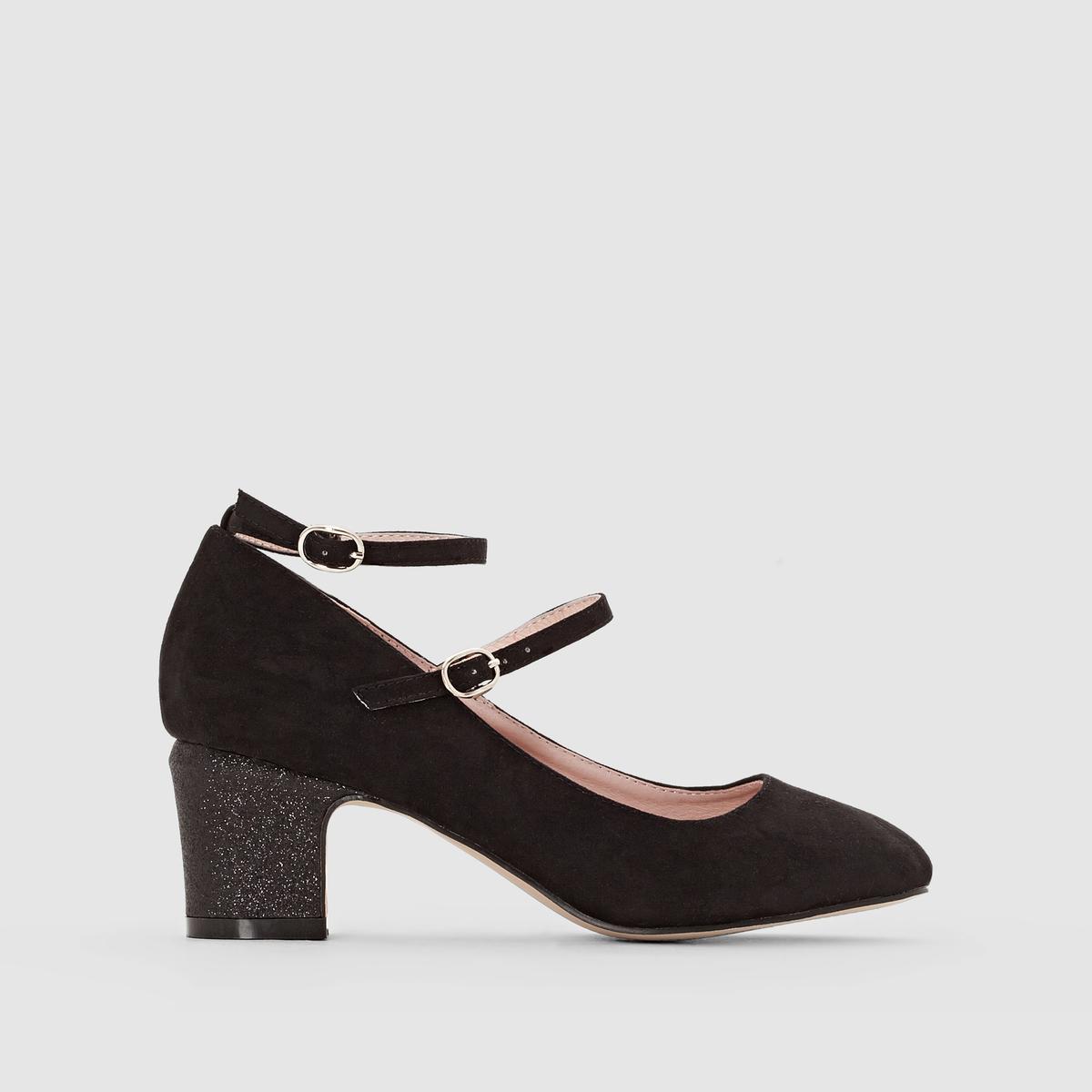 Босоножки с блестками на каблуке с двойным ремешком