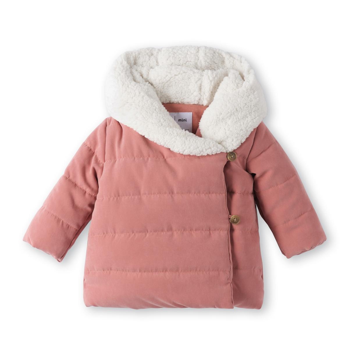 Piumino con cappuccio effetto pelliccia 1 mese - 3 anni