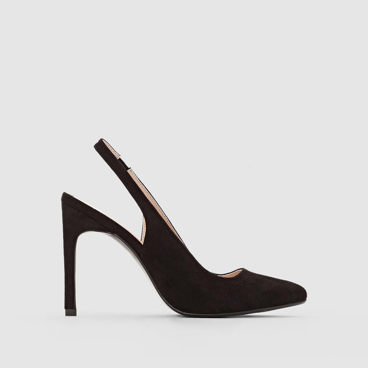 Туфли-лодочки с открытой пяткой на каблукеМарка :      R ?ditionВерх : синтетикаПодкладка : синтетикаСтелька : синтетикаПодошва : эластомерВысота каблука : 10 смФорма каблука : Шпилька.Мысок : закругленный<br><br>Цвет: черный