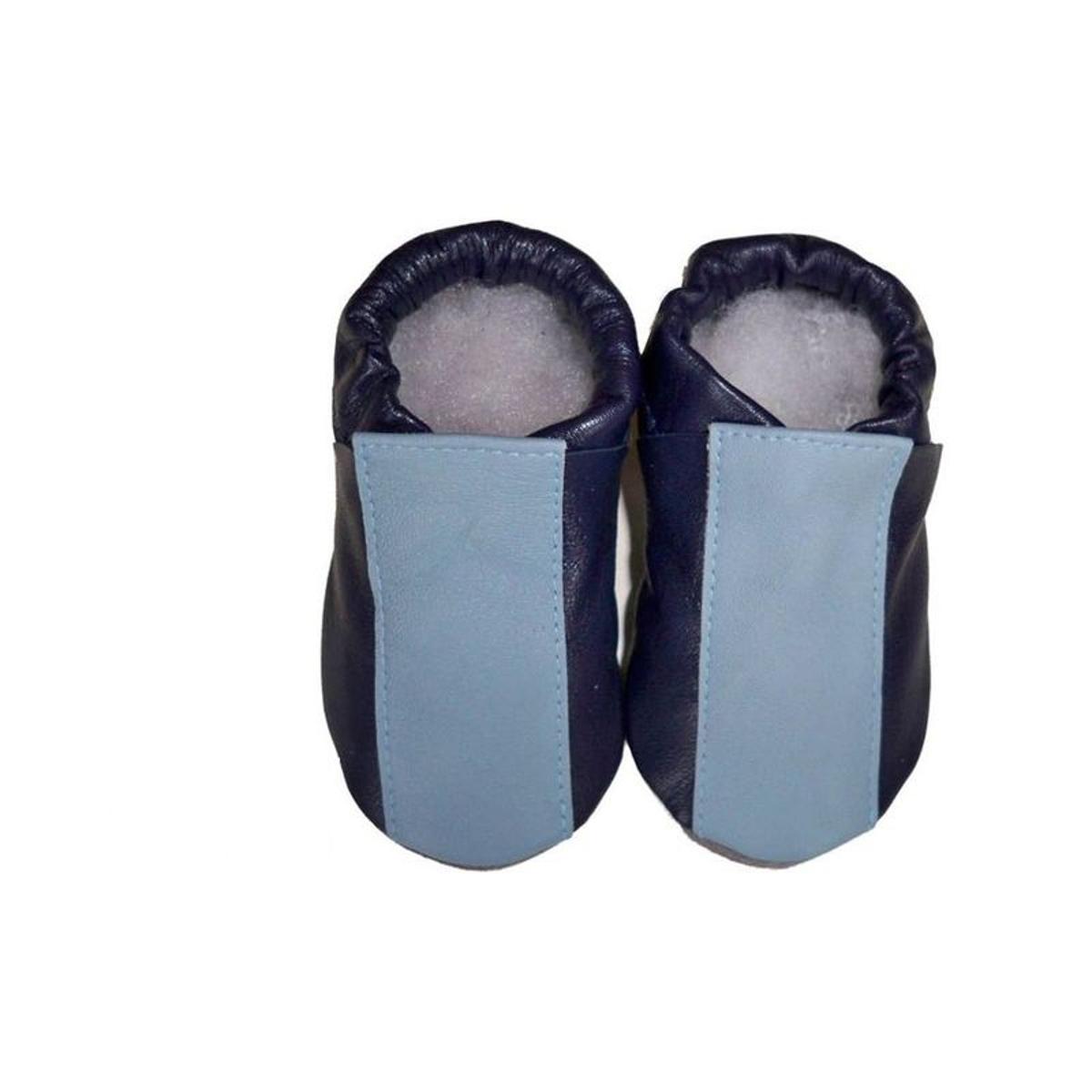 Chaussons bébé cuir bleu