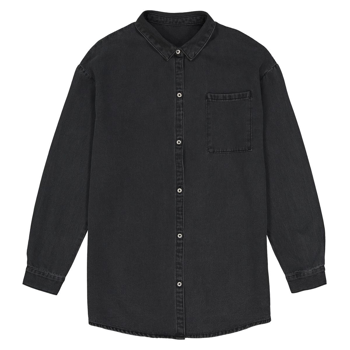 Camisa de ganga preta oversize, 10-16 anos