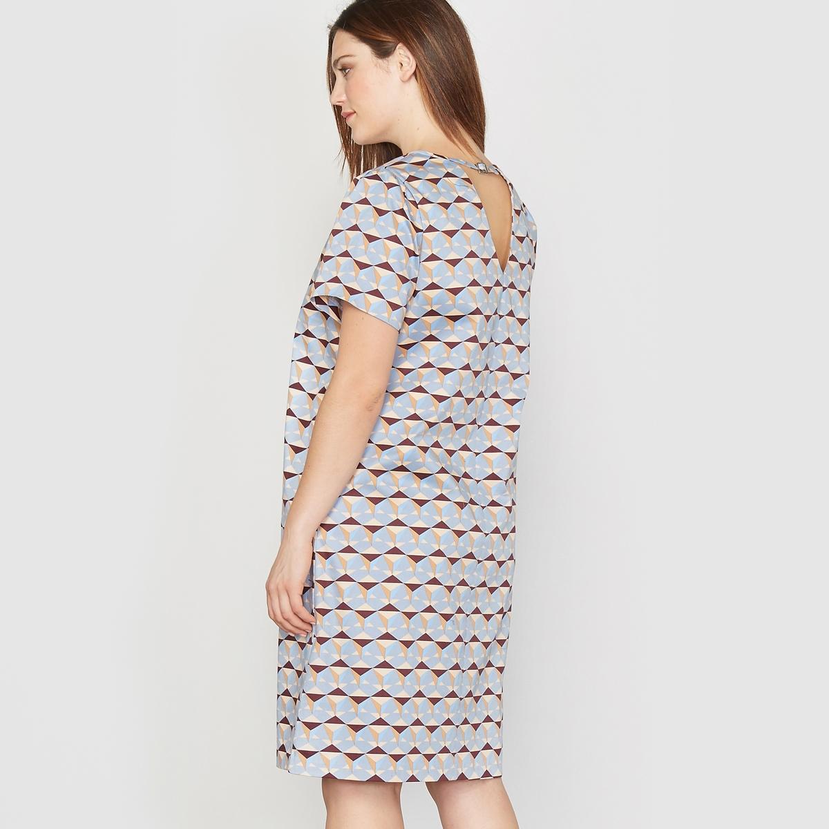Платье с рисунком и короткими рукавамиСостав и описание :Материал : ткань с рисунком,  98% хлопка, 2% эластана.Длина : 97 см.Марка : CASTALUNAУход : Машинная стирка при 30°.<br><br>Цвет: геометрический рисунок<br>Размер: 42 (FR) - 48 (RUS)