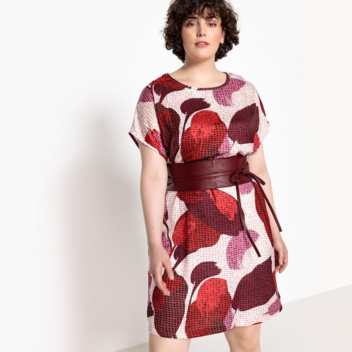 Платье прямое с принтом, миди, короткие рукава