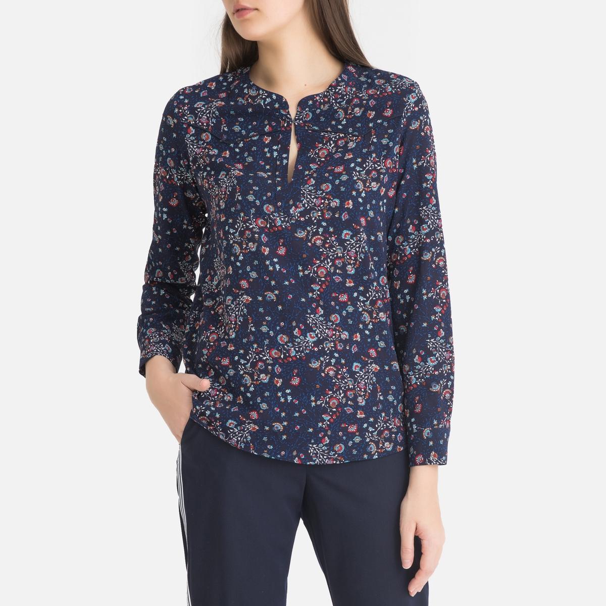 Блузка La Redoute С цветочным рисунком и длинными рукавами 38 (FR) - 44 (RUS) синий рубашка la redoute струящаяся с цветочным принтом и длинными рукавами 34 fr 40 rus фиолетовый