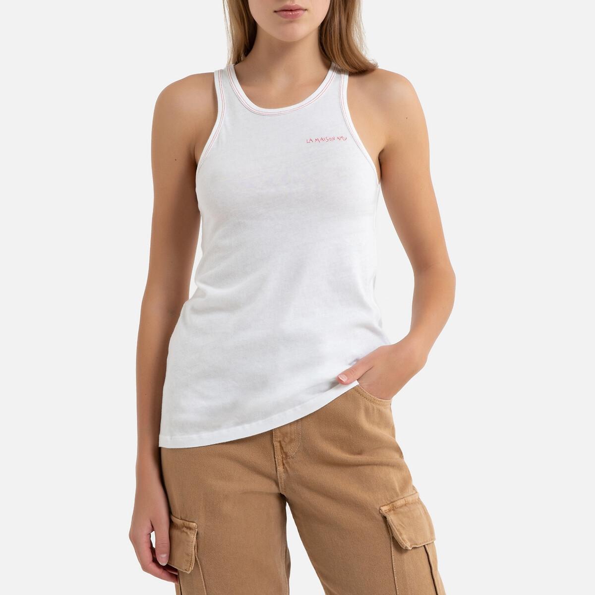 Топ La Redoute С круглым вырезом без рукавов BIPCAT S белый свитшот la redoute с круглым вырезом и вышивкой s черный