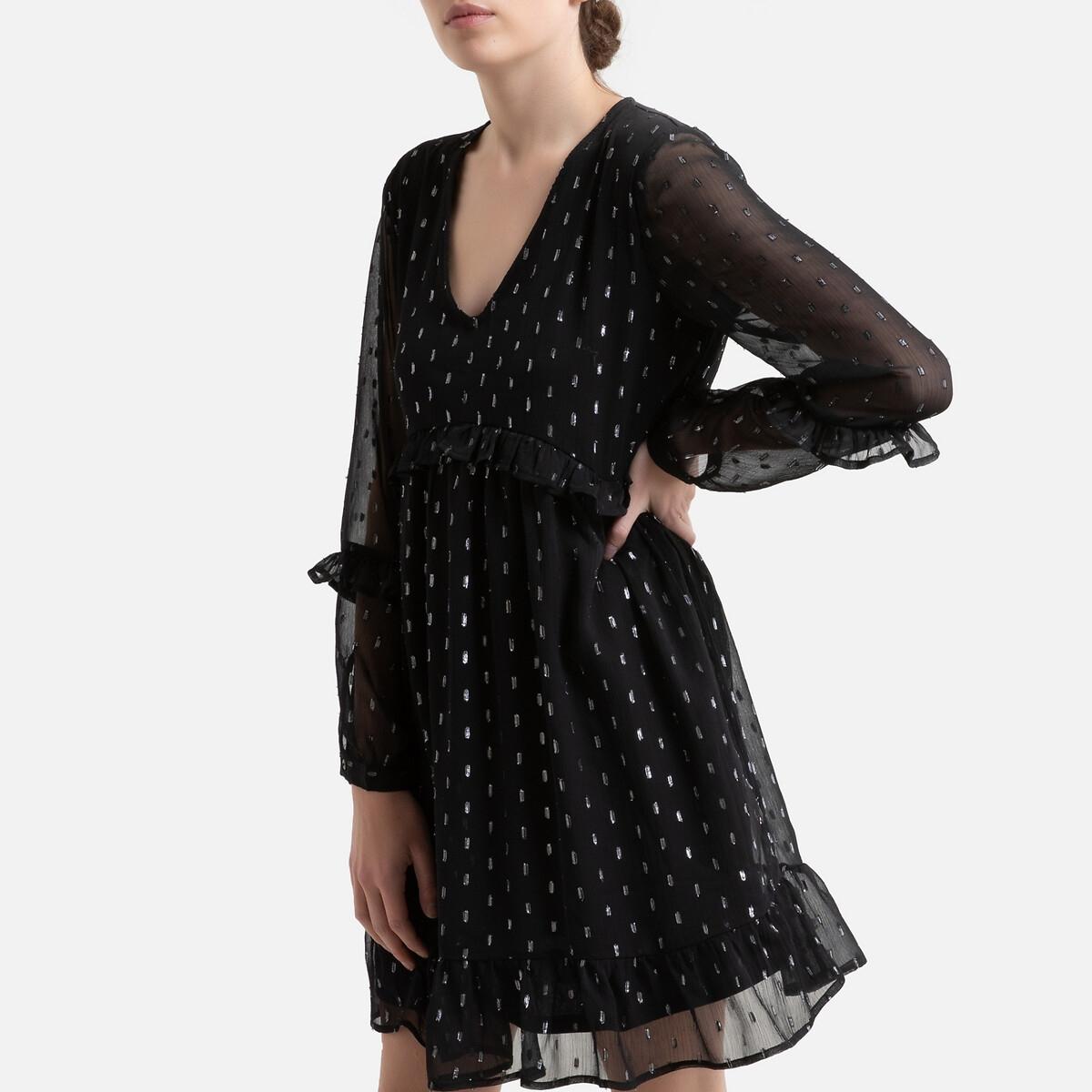 Платье LaRedoute Короткое с воланом v-образный вырез 44 черный