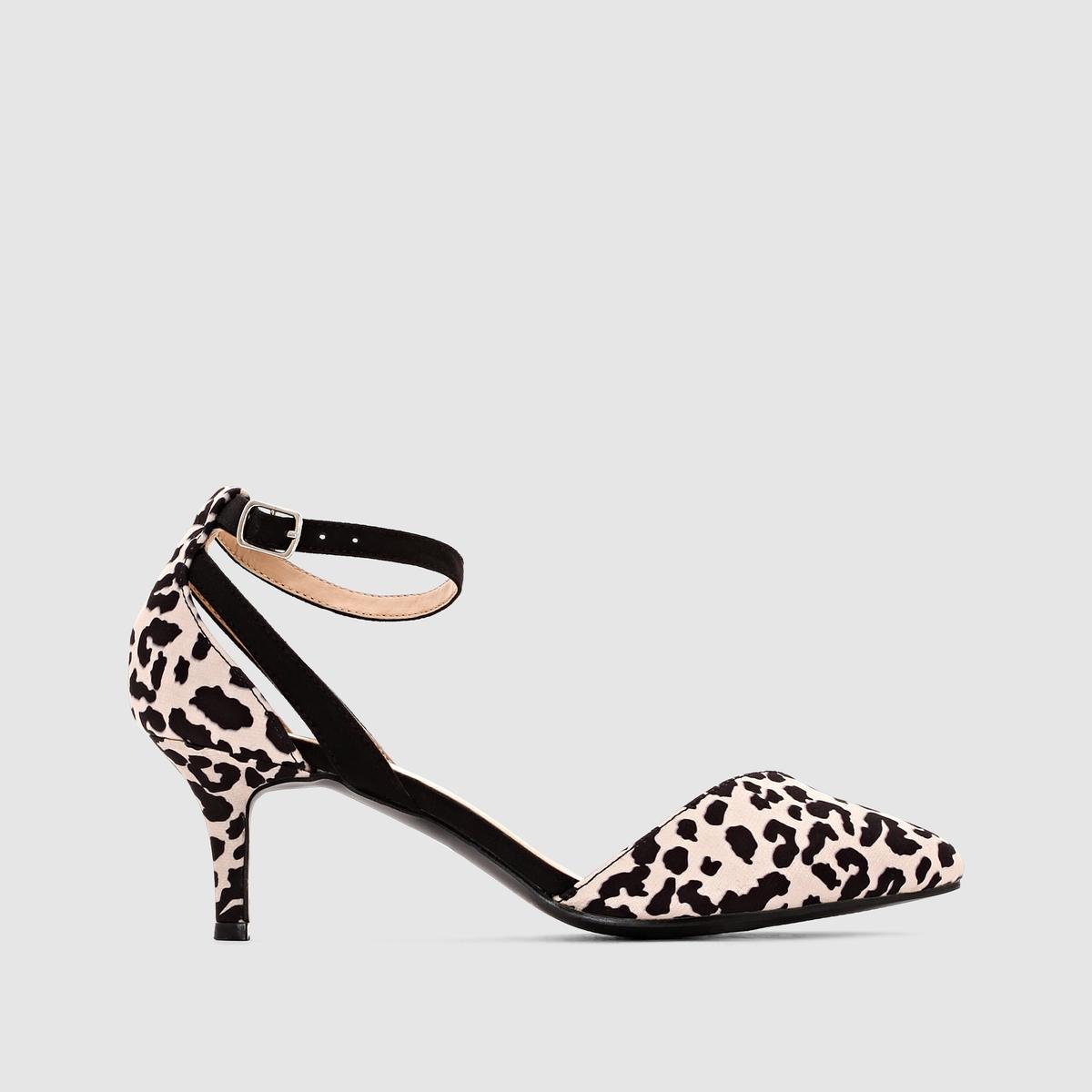 Туфли из двух материалов<br><br>Цвет: леопардовый рисунок