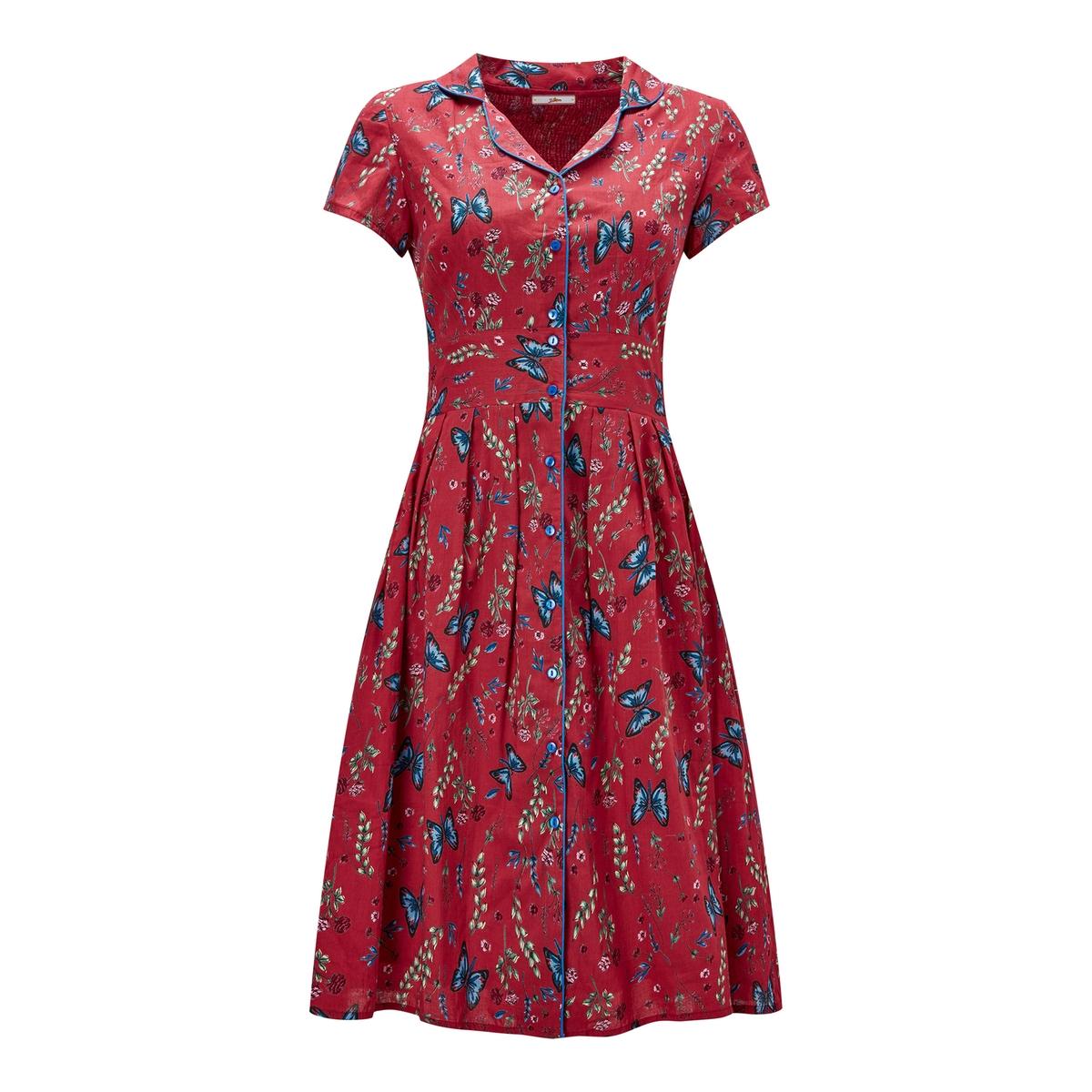 Платье-рубашка расклешенное с цветочным рисунком