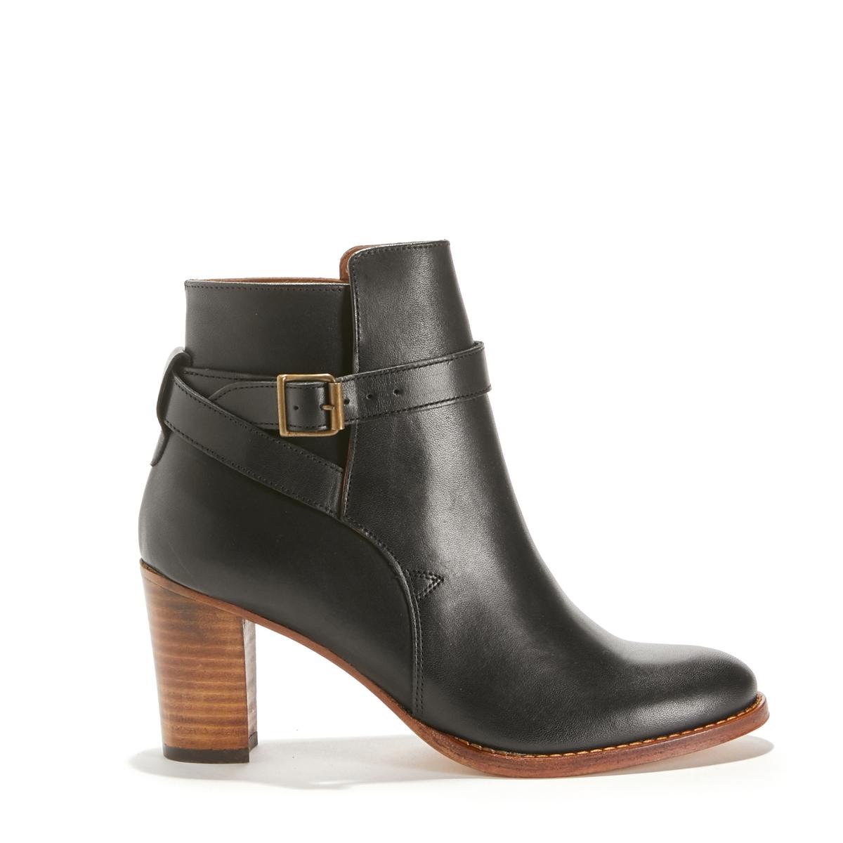 Ботильоны кожаные на каблуке CAPUCINE цены онлайн