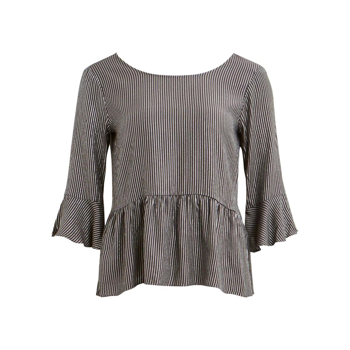Блузка с вышивкой люрексом, баской, V-образным вырезом, в полоску