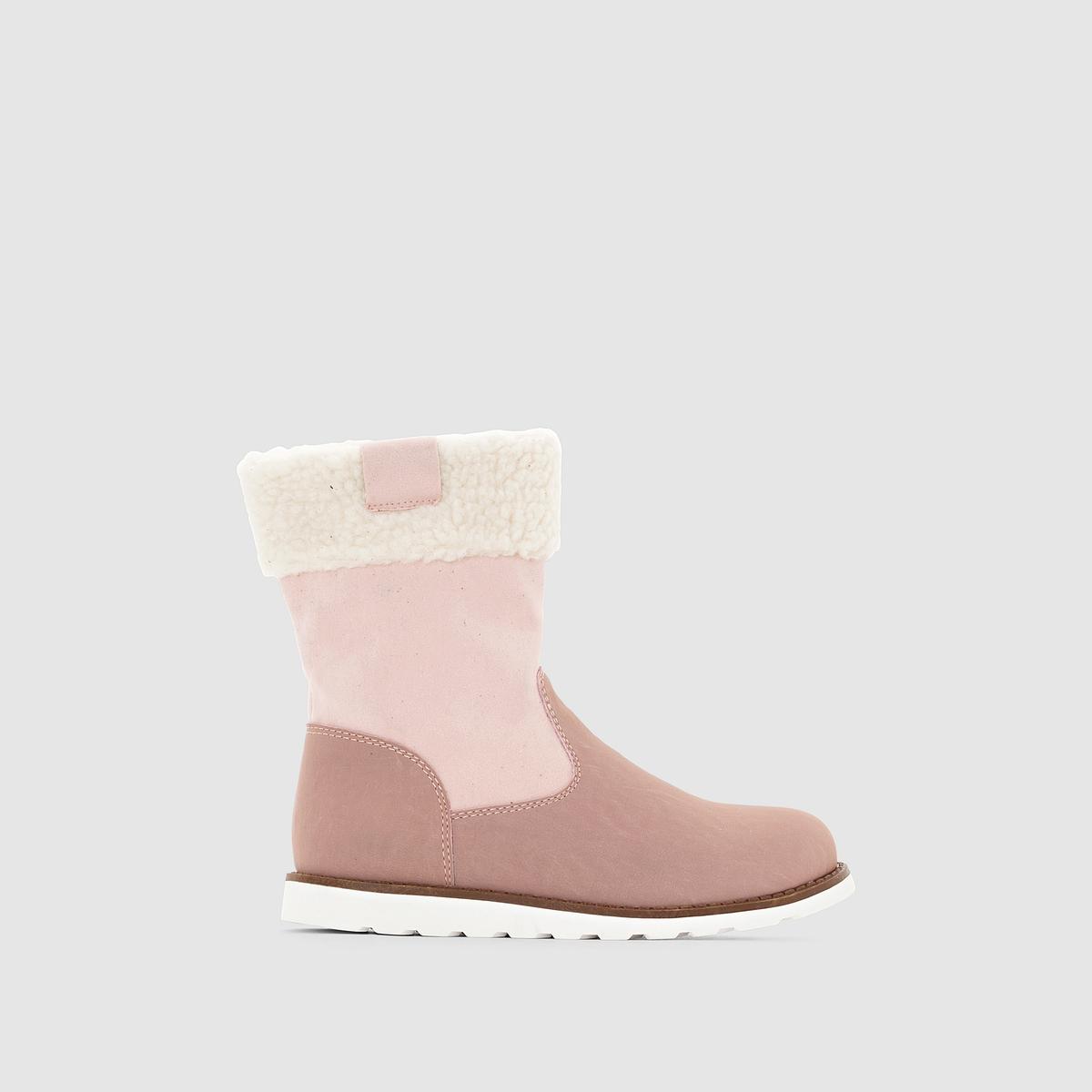 Ботильоны на меховой подкладкеСтильные ботильоны на меховой подкладке, красивое сочетание цветов, отворот из искусственного меха, теплые и идеальные для защиты ног!<br><br>Цвет: розовый