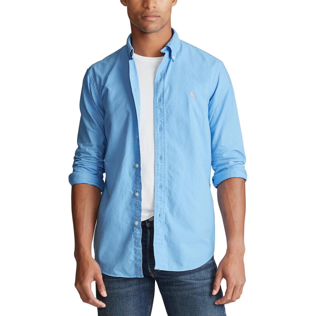 Рубашка La Redoute Узкого покроя из ткани оксфорд M синий рубашка la redoute из ткани оксфорд 16 лет 162 см синий