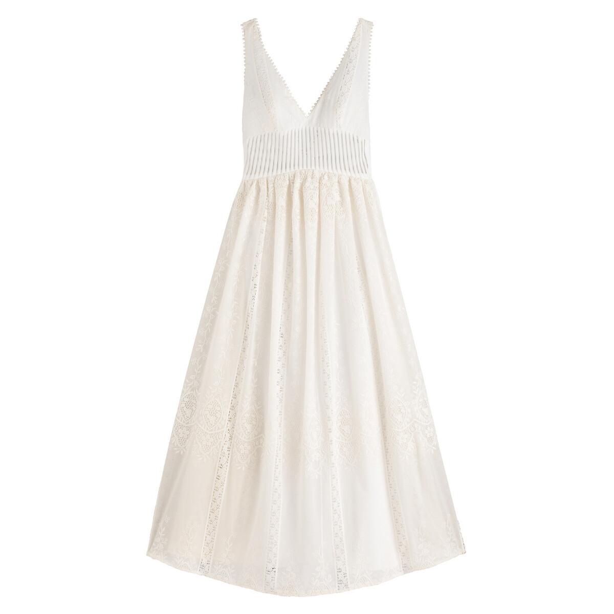 Длинное LaRedoute Свадебное платье без рукавов 36 (FR) - 42 (RUS) бежевый