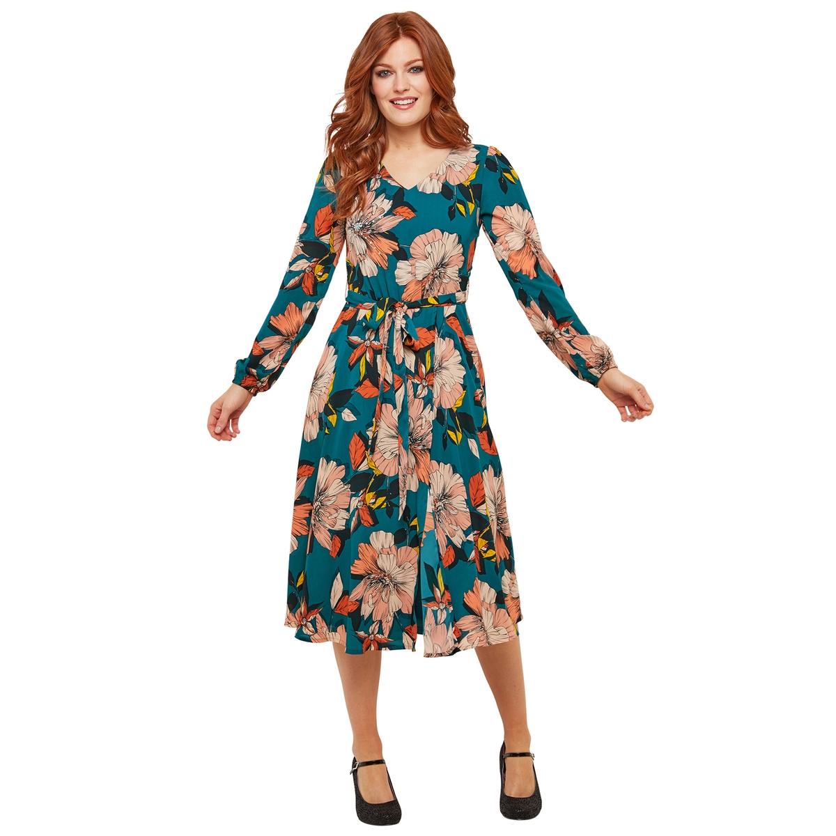 цена Платье La Redoute Средней длины расклешенное с цветочным рисунком и V-образным вырезом 36 (FR) - 42 (RUS) розовый онлайн в 2017 году