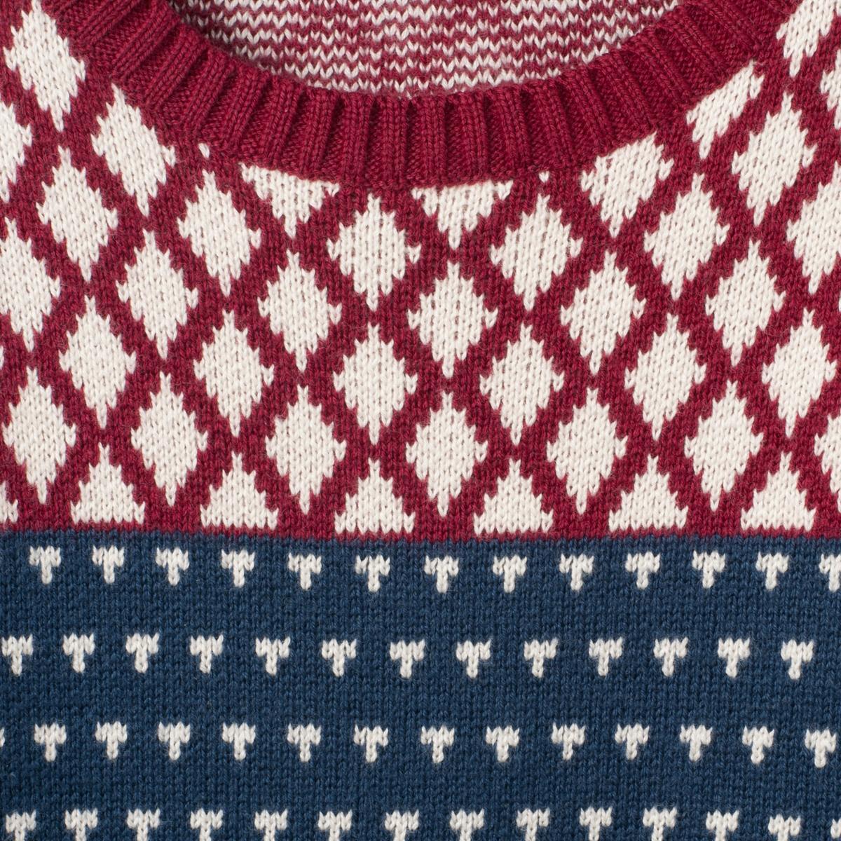 Жаккардовый пуловер на 1 мес. - 3 годаЖаккардовый пуловер. Длинные рукава. Края связаны в контрастный рубчик. Застежка на кнопку на плече. Состав и описаниеМатериал 100 % хлопка Марка    R mini УходСтирать и гладить с изнанки.Машинная стирка при 30°С на умеренном режиме с одеждой схожих цветовМашинная сушка запрещена.Гладить на очень низкой температуре.<br><br>Цвет: темно-синий/ красный<br>Размер: 3 мес. - 60 см