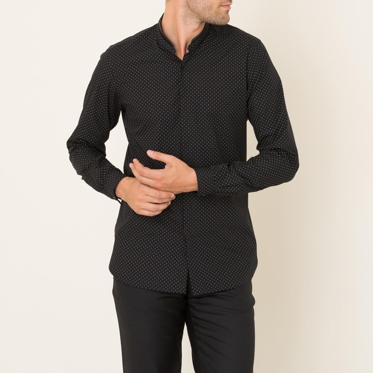 Рубашка с рисунком со вставкой из кожиСостав &amp; Детали Материал : поплин, 100% хлопокВставка 100% кожа ягненка Марка : THE KOOPLES<br><br>Цвет: черный