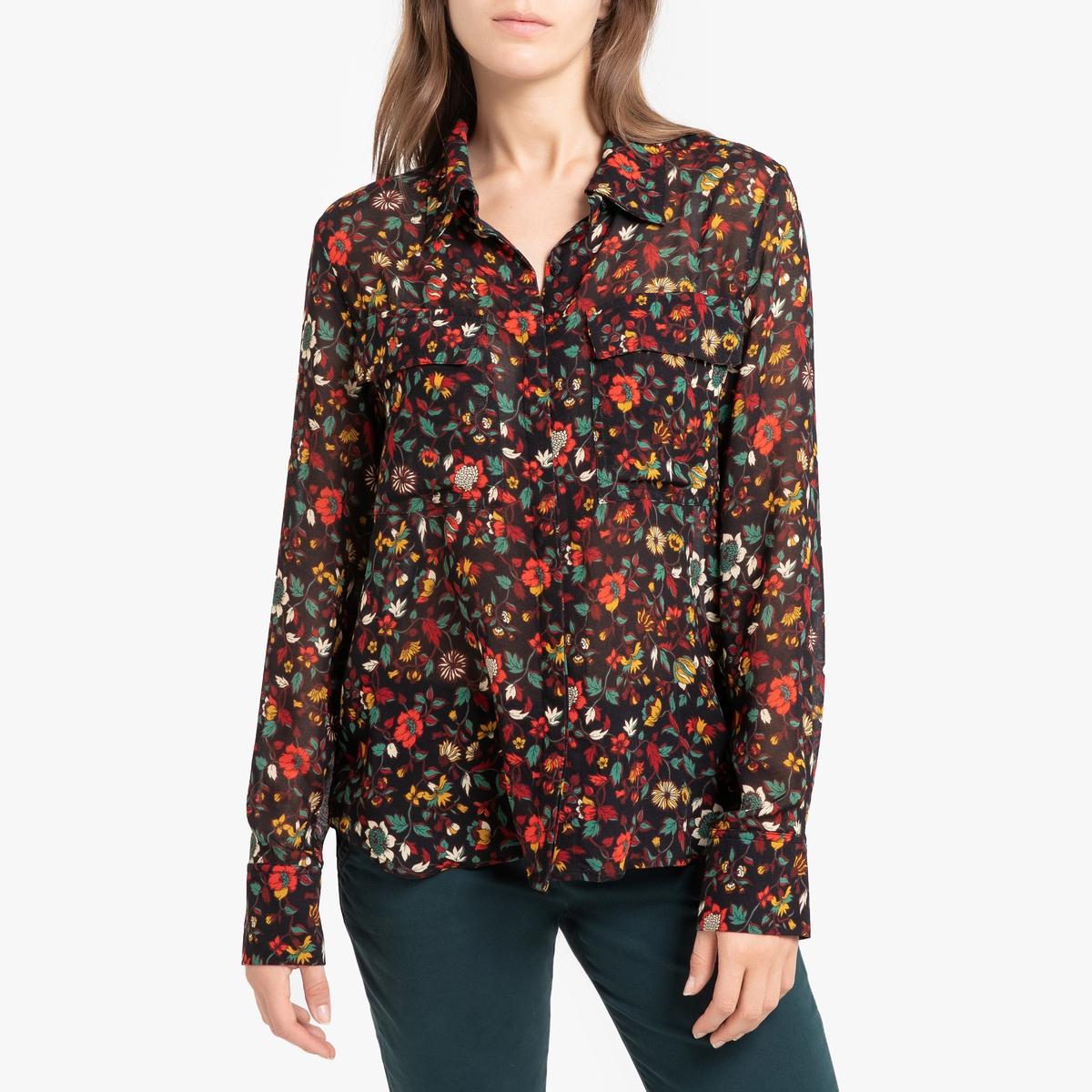 Блузка La Redoute С принтом и длинными рукавами FLAVIE 36 (FR) - 42 (RUS) черный цены