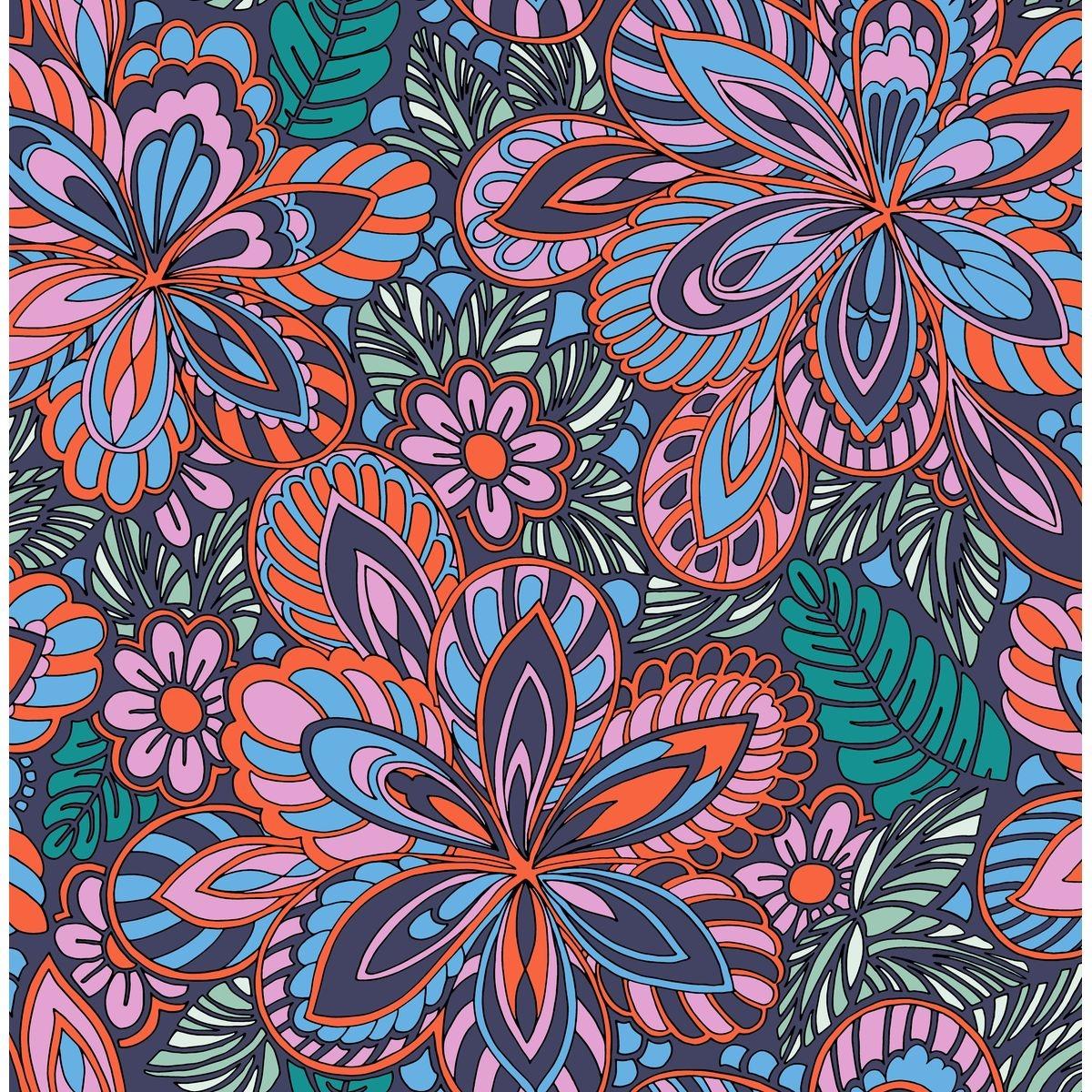 Elle Papier Peint Intissé Happy Fleurs Multi 10 m x 52 cm