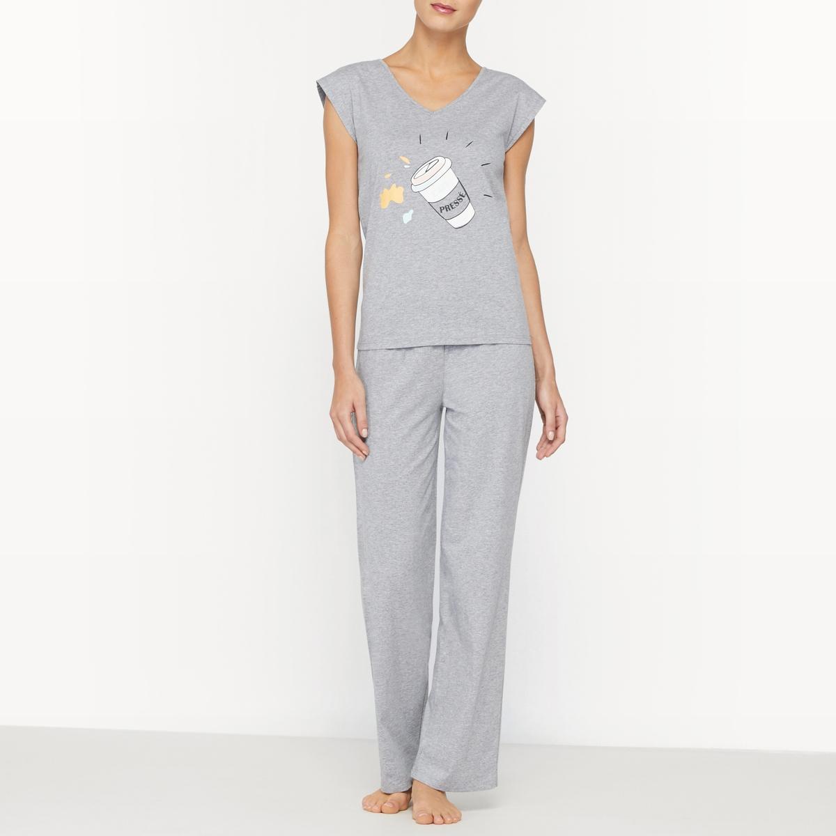 Пижама из 2 предметов, верх с рисунком