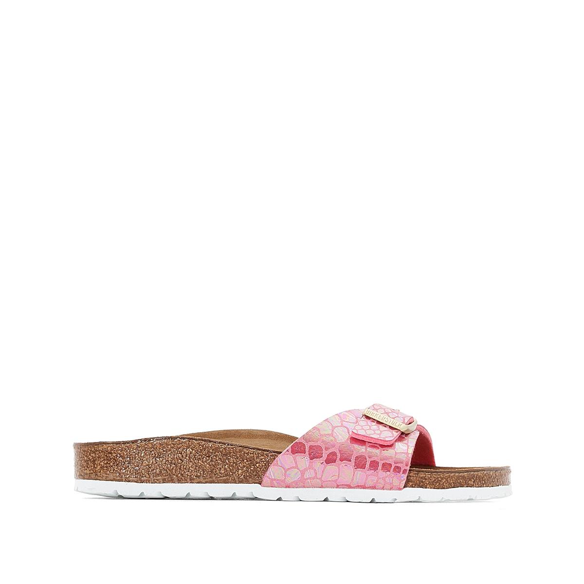 Туфли без задника с рисунком под кожу змеи MADRIDВерх : синтетический материал (Birko-Flor)                 Подкладка : фетр               Стелька : велюровая кожа               Подошва : ЭВА               Застежка : без застежки<br><br>Цвет: наб. рисунок/ розовый