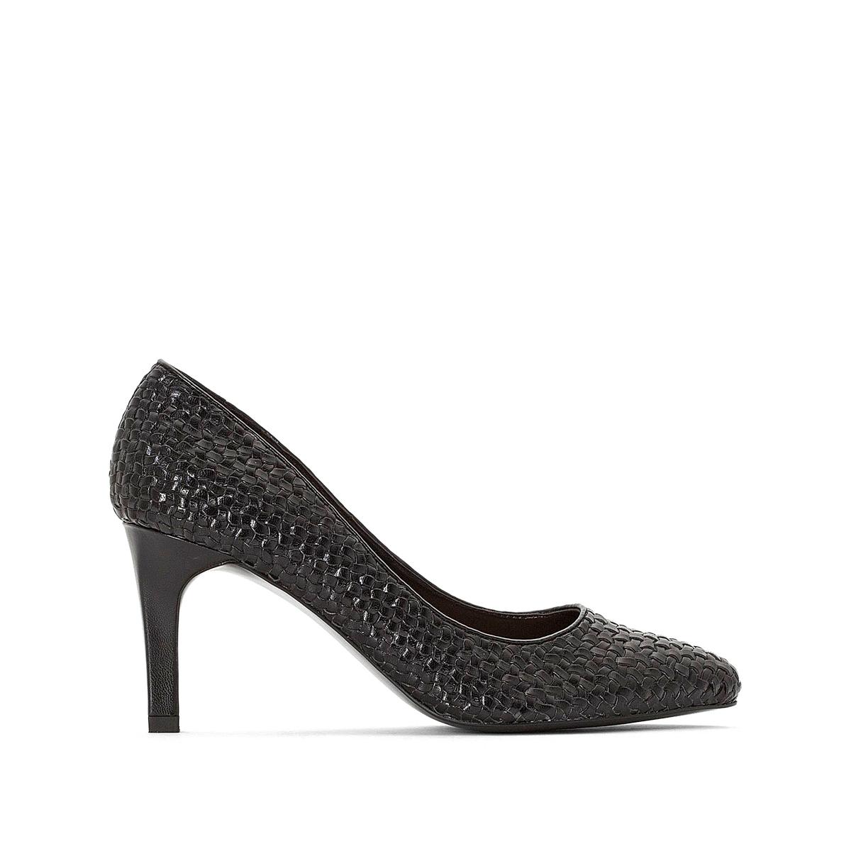 Туфли La Redoute Плетеные на высоком каблуке с заостренным мыском 36 черный туфли la redoute кожаные с открытым мыском и деталями золотистого цвета 41 черный