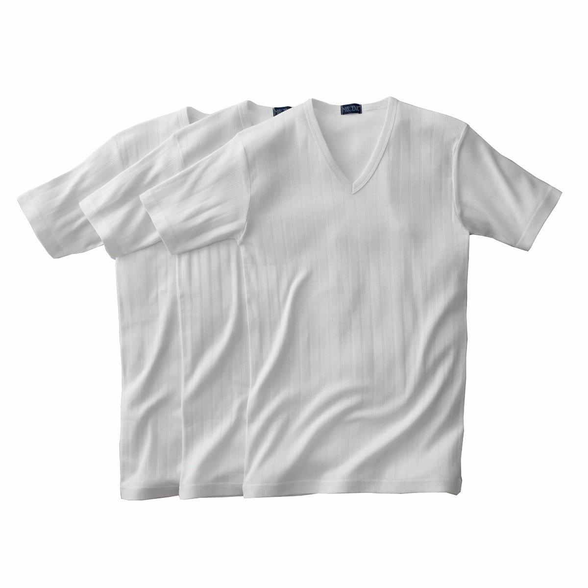 Комплект из 3 футболок в рубчик с V-образным вырезом и короткими рукавами*Международный знак Oeko-Tex гарантирует отсутствие вредных и раздражающих кожу веществ.<br><br>Цвет: белый,серый меланж<br>Размер: M.S.XXL